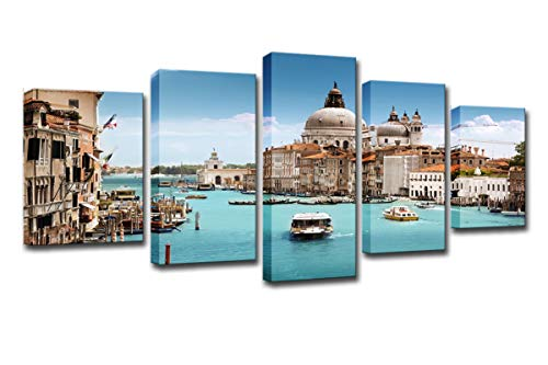WINSEN Canvas Pictures Home Wall Art Decor HD Prints 5 Pieces Venice Water City Boat Landscape Paintings Grand Canal Posters