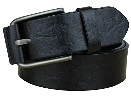 Bullko Men's Pin Buckle Casual Genuine Leather Belt Black 30-32inch (Leather Genuine Belt)