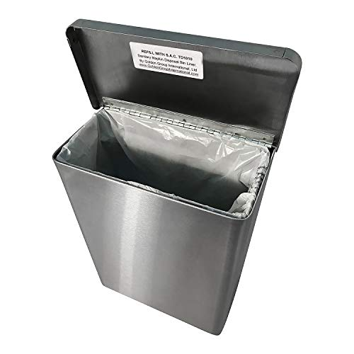 Sanitary Napkin Receptacle, Surface Mounted, with Liners, Courtesy Disposal Bags and Dispenser, Steel (Stainless Steel) by S.A.C. Socially Acceptable Containment (Image #1)