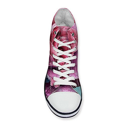 FOR U DESIGNS Vintage Rose Floral Print High-Top Lace Up Fashion Sneaker for Women Girls Red FTu6uRbq
