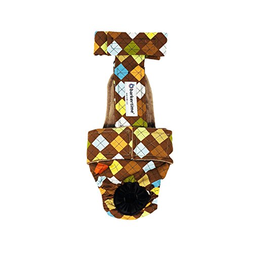 Dog Diaper Overall - Made in USA - Classic Brown Argyle Escape-Proof Washable Dog Diaper Overall, XXL, Without Tail Hole for Dog Incontinence, Marking, Housetraining and Females in Heat by Barkertime