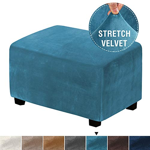 Real Velvet Plush 1 Piece Form Fit Stretch Rectangle Folding Storage Covers Ottoman Slipcovers Removable Footstool Protect Footrest Covers Elastic Bottom, Machine Washable(Large, Peacock Blue)