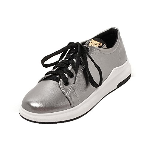 VogueZone009 Women's Lace-up Round-Toe No-Heel PU Solid Pumps-Shoes Silver 19TuYJ