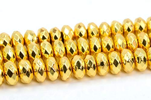 5x3MM Natural 18k Gold Hematite Beads AAA Faceted Rondelle Loose Beads 15.5