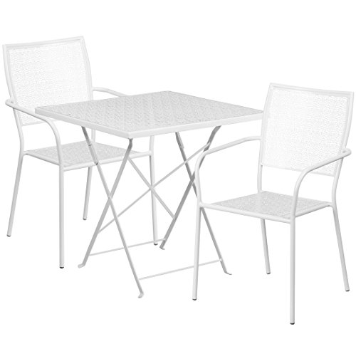 MFO 28'' Square White Indoor-Outdoor Steel Folding Patio Table Set with 2 Square Back Chairs