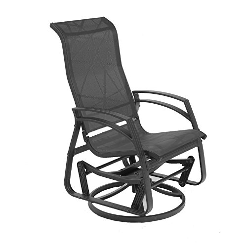 Dura Housewares 11923 Kansas Dallas Aluminum Swivel Glider Chair, Black Frame with Black Fabric