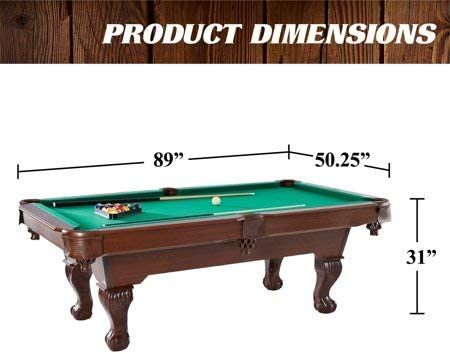 Barrington 90 Ball and Claw Leg Pool Table with Cue Rack and Dartboard Set, Green Cloth