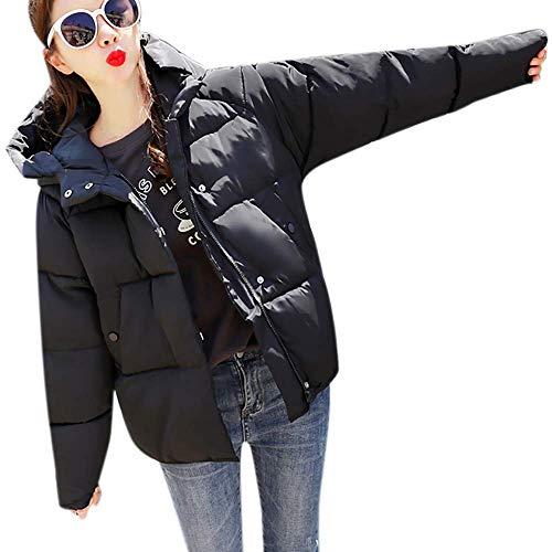 Capucha Mujeres Cuello Las Señoras Outwear Abrigo Corto Parka Algodón Casual De Espesar Negro Acolchado Delgado Chaqueta Escudo Invierno Bn58xw6Y6q