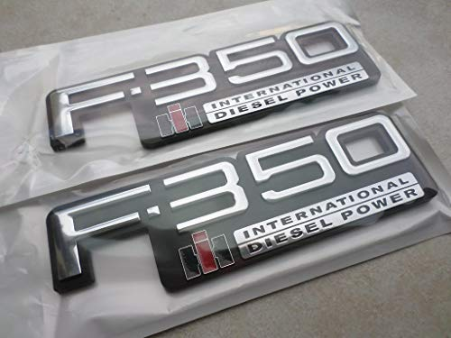 83-94 Set of 2 Custom Chrome F-350 International Diesel Power Side Fender Door Logo Tailgate Emblem TEWOBSF350 Nameplate Decal