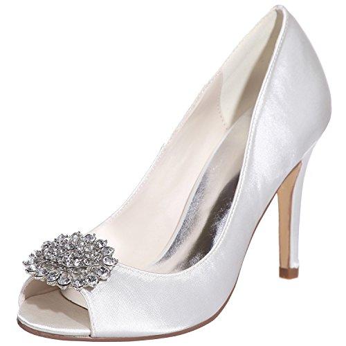 Loslandifen Femmes Peep Toe Sandales Strass-incrustés Stiletto Talons Hauts Chaussures De Mariage Blanc