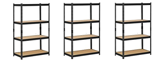Edsal UR364AZ-BLK Steel Storage Rack, 4 Adjustable Shelves with Post Couplers and Plastic End Caps, 3200 lb. Capacity, 60'' Height x 36'' Width x 18'' Depth, Black (Pack of 3) by EDSALL