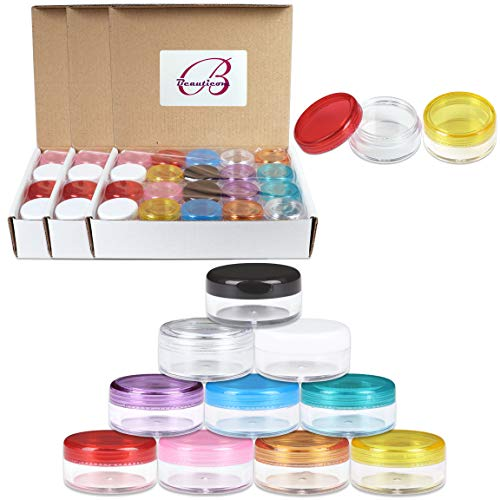 Beauticom 120 Pieces 5G 5ML Empty Clear Container Jars with MultiColor Lids for Makeup Cosmetic Samples, Small Jewelry, Beads, Nail Charms and Accessories