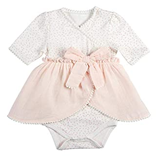 Stephan Baby Snapshirt-Style Pompom Dress Diaper Cover, Pink and White, 3-6 Months