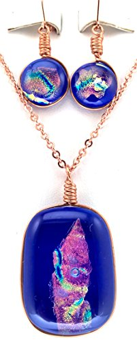 (Cobalt Blue and Pink Color Dichroic Rectangular Glass Pendant and Matching Earrings)