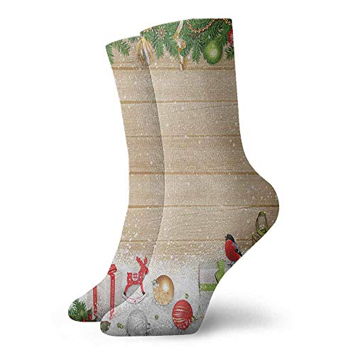 Fashion socks Pine Branches Ornaments on Wooden Planks Snow Presents Vintage Composition Print Sports, travel
