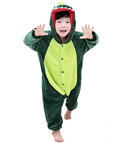 Duraplast Boy's Funny Sleeping Wear Animal Onesies Pajamas Costume with Hoodie Dinosaur M