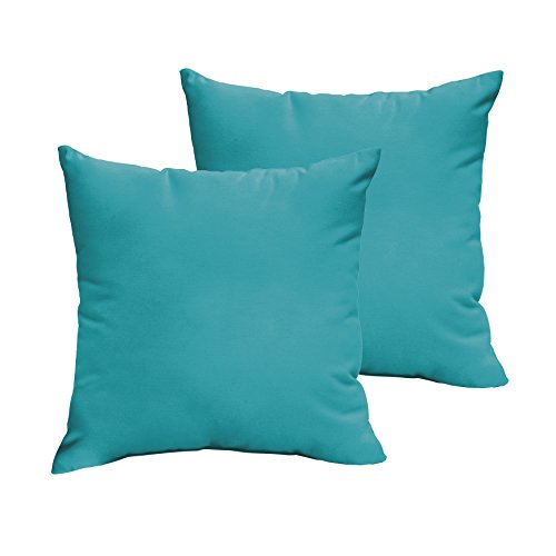 Aruba Sunbrella - 1101Design Sunbrella Canvas Aruba Knife Edge Decorative Indoor/Outdoor Square Throw Pillows, Perfect for Patio Décor - Aruba Blue 20