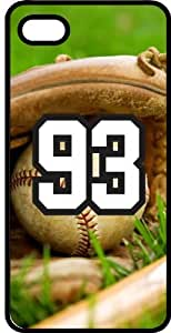 Baseball Sports Fan Player Number 93 Smoke Rubber Decorative iPhone 5/5s Case