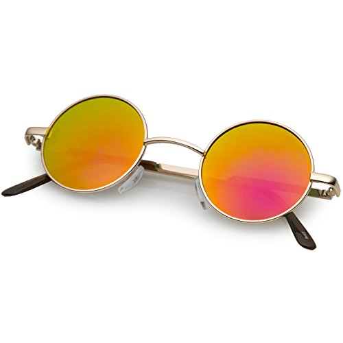 zeroUV - Lennon Style Small Round Color Mirrored Lens Circle Sunglasses (Gold Fire) (Colour Round)