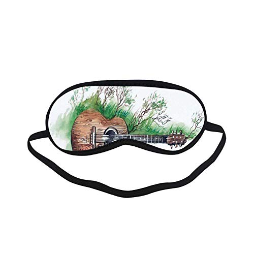 Music Decor Fashion Black Printed Sleep Mask,Wooden Guitar Branches Classical Meadow Summertime Lawn Landscape for Bedroom,7.1