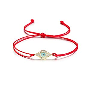 Wistic Hamsa Evil Eye Adjustable Bracelet Kabbalah Silver String Bracelet for Women Men Girls boys