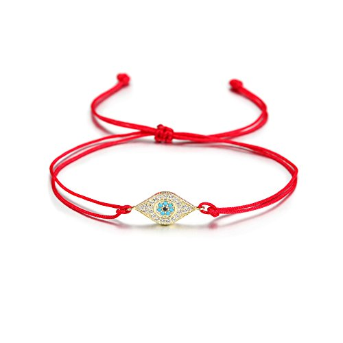 Wistic Evil Eye Adjustable Bracelet Kabbalah String Bracelet for Women Men Girls Boys (Orange) ()