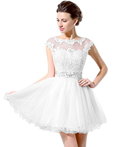 Applique Beading Short Homecoming Dresses Sequined Lace Cocktail Prom Gowns White US6 ()