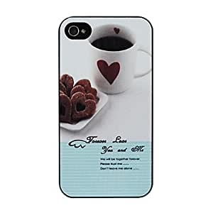 (CASEI)Hi-Q Relief Coffee Pattern Hard Case for iPhone 4/4S (Multi-color)