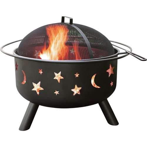 Pit Brick Gas Fire - Landmann 28345 Big Sky Stars and Moons Firepit, Black