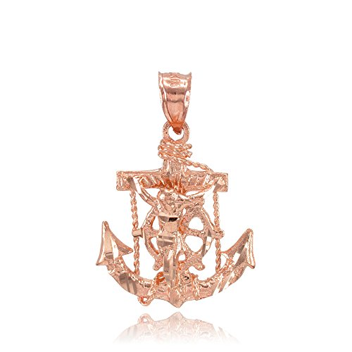 (14k Rose Gold Mariner's Cross with Crucifix Pendant)