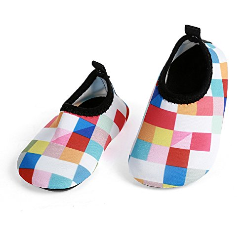 Hot Pink Plaid Design - JIASUQI Baby Outdoor and Indoor Fashion Casual Water Skin Shoes Socks for Beach Sand Swim Surf,Plaid Pink 18-24 Months