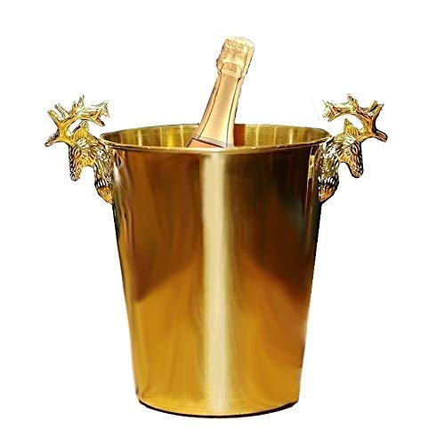 ZBJJ Golden Reindeer Head Stainless Steel Ice Bucket 5L for Parties/for Wine, Cocktail and Garden Drinks Cooler