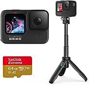 Câmera GoPro HERO9 Black - Kit Home Prime com Mini Bastão Tripé Shorty e Cartão de Memória 64GB Sandisk Extrem