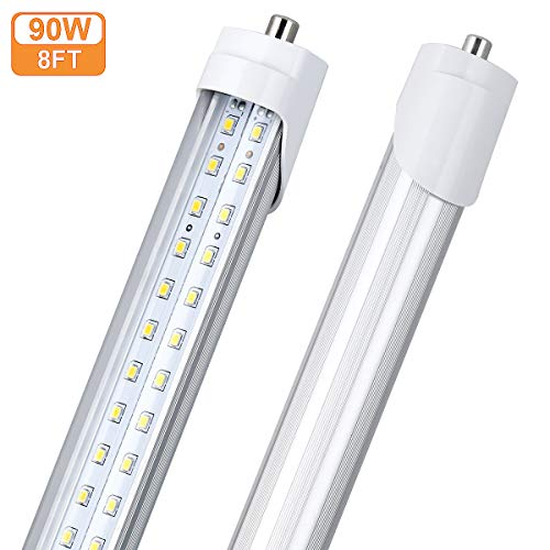 (10 Pack) T8/T10/T12 8Ft LED Tube Light, Single Pin FA8 Base, 90W 10000LM, 5000K Daylight White, 8 Foot Flat Dual Row LED Fluorescent Bulbs (150W Replacement), Clear Cover, Dual-Ended Power