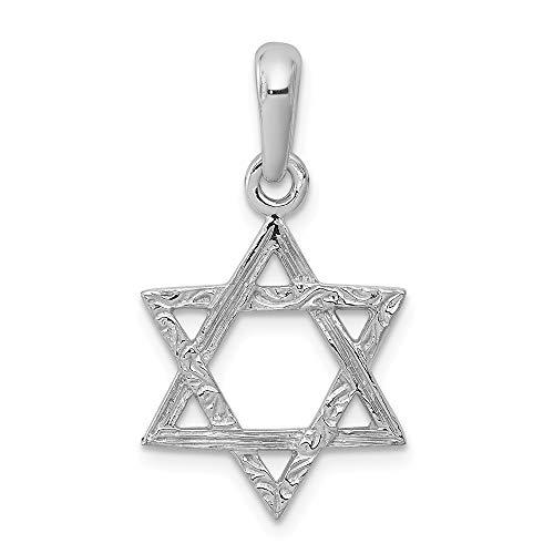 14k White Gold Jewish Jewelry Star Of David Pendant Charm Necklace Religious Judaica Fine Jewelry Gifts For Women For Her (Jewish Pendant Religious White Gold)