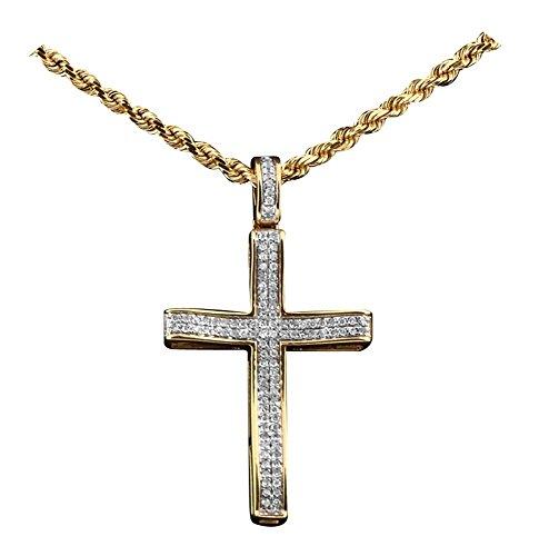LoveBling 10K Yellow Gold 0.20 Carats (ctw) Diamond Cross Pendant (1.28