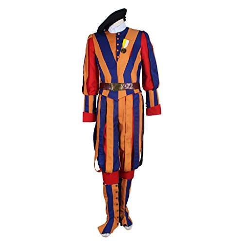 Men's Carnival Switzerland Soldiers Swiss Guard Uniform Cosplay Costume M Orange