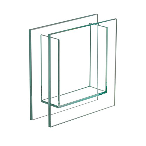 Royal Imports Flower Glass Vase Decorative Centerpiece for Home or Wedding Flat Square Clear Trim Plate Glass - (8