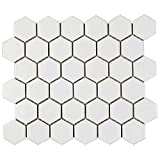 1 Carton/20 SQFT | 2'' Hexagon Mosaic Tile - White (Matte)
