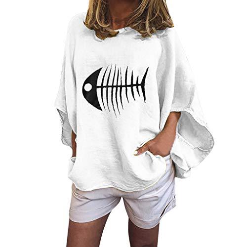 POQOQ Tanic Shirt Women Casual Loose Lantern Sleeve Fish Bone Print Blouse Tops(White,M)]()