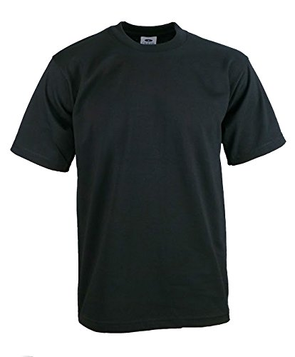 Men's Proclub Heavy Weight Solid Crewneck Short Sleeve Shirts Black ()