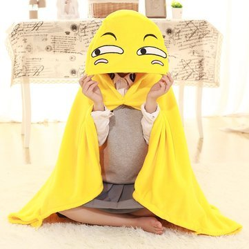 110x145cm Plush Toy Funny Expression Cloak Cape Shawl Coral Fleece Air Conditioning Blanket - Bedding Blankets - 1 x 110x145cm Funny Expression Shawl Blanket