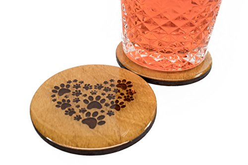 "Premium Animal Lover Coasters - 4 Handmade 3.5"" Round Wooden Mother's Day Gift Set Pet Lover Unique"