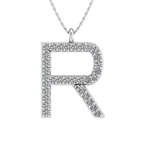 IGI Certified 10K White Gold Alphabet Initial Letter R Diamond Pendant Necklace (0.06 Carat) (Pendant 0.06 Initial Ct)