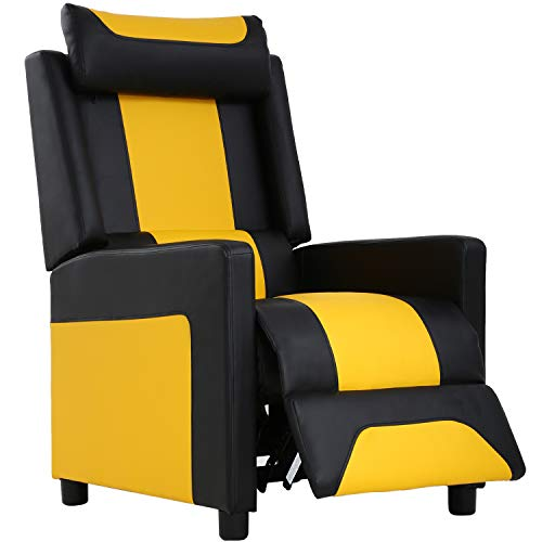 FDW Adults Video Game Couch Gamer Chair Reclining Home Movie Theater Sofa Single Living Room Furniture Seat Comfortable, Black With Yellow