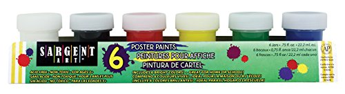 Sargent Art 17-5412 6 Bright Colors Jar Primary Poster Paint Set, 3/4 oz