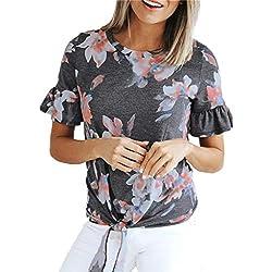Ykaritianna Summer New Womens Fashion Casual Women O Neck Butterfly Sleeve Printing T Shirt Blouse Tops