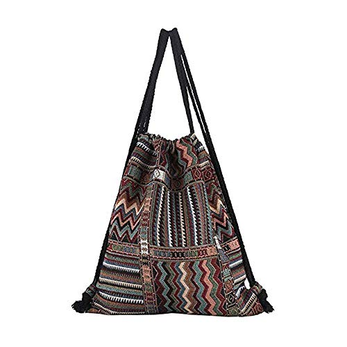 Cyber Sale Monday Deals Fabric Drawstring Backpack Travel Sack Beach Gym Bag