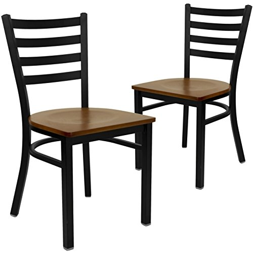 Flash Furniture 2 Pk. HERCULES Series Black Ladder Back Metal Restaurant Chair - Cherry Wood Seat