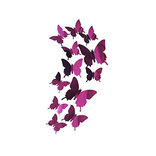 Home Interior Decor - Clearance! Leyorie Butterflies Wall Stickers Decal 3D Mirror Wall Art Bedroom Living Room Home Decor (Hot Pink)